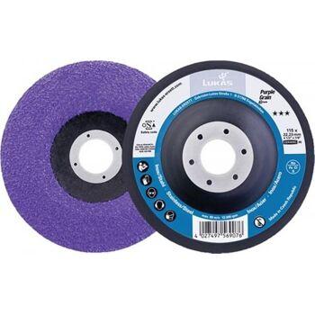 Schleifscheibe Purple Grain Single, D125mm Körnung 36, gekröpft, 10 er Pack