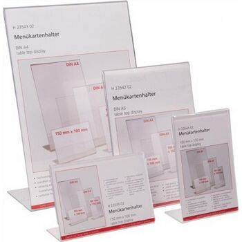 Tischaufsteller f.Format 150x100mm quer Acryl transparent, 2 St.