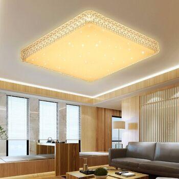 VINGO 60W Deckenleuchte Starlight Effekt Kristall Warmweiß LED Korridor Eckig Deckenbeleuchtung 2700K-3000K, metall, Rahmen