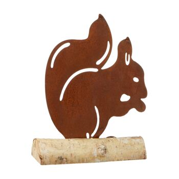 17-44468, Metall Eichhörnchen auf Holzfuß 18 cm, rusty