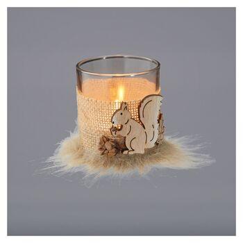 17-78049, Kerzenglas Teelichthalter Eichhörnchen