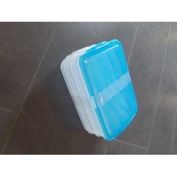 Rotho Frischhaltedose Rondo 3x0,75 L stapelbar transparent/ blau