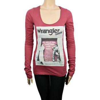 Wrangler Damen T-Shirt Langarm Shirt Shirts T-Shirts 31071500