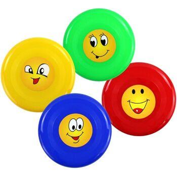 27-42583, Frisbee 23 cm, mit Gesichtern, Wurfscheibe, Sommerspaß, Strandspaß