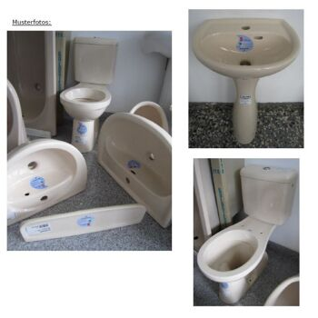 BATHROOM-SET KERAMAG in cream-colour incl. washbasin + Combination WC + water-tank + shelf + pedestal