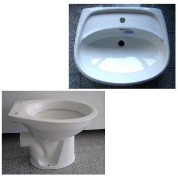 Sonderposten Marken BAD-SET Waschbecken 55 / 65cm + WC in Weiss