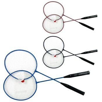 27-45460, Federballspiel 3-teilig, besteht aus 2 Metall Schlägern, 1 Federball, Badminton, Beachball