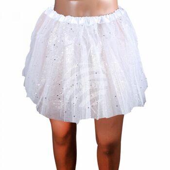 Kinder Tutu Petticoat Unterrock weiß Glitzer