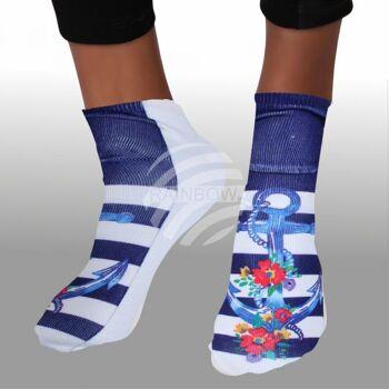 Motiv Socken Anker Blumen maritim floral blau weiß