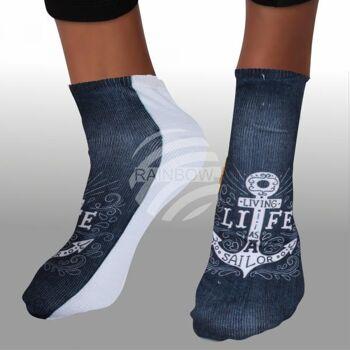 Motiv Socken Anker Ornamente Spruch Living life?.