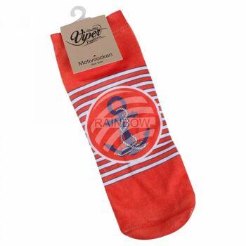 Motiv Socken Anker Streifen maritim rot