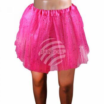 Tutu Petticoat Unterrock fuchsia Glitzer ca. 60 cm