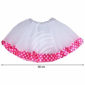 Tutu Petticoat Unterrock weiß fuchsia Bordüre weiß