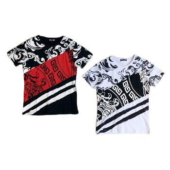 Kinder Jungen Trend T-Shirt Muster 8-16 Jahre Shirt Shirts Kurzarm Kindershirts Oberteil - 6,90 Euro