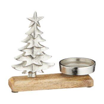 17-64250, Holz Kerzenhalter 18 cm, mit Tanne, auf Fuß++++++