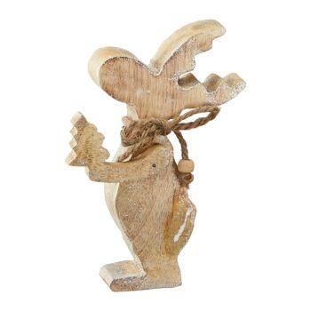 17-64252, Elch aus Holz 14 x 10 cm, glitzer