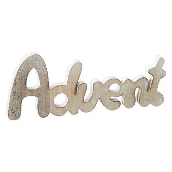 17-78063, Holz Deko Schriftzug Advent 35 cm, mit Glitzer zum Stellen