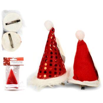 28-220049, Haarclip mit Weihnachtsmütze, mit Bommel, Nikolausmütze, Weihnachtsmannmütze