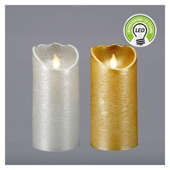 17-73694, LED Echtwachs Kerze Glitter 15 cm, mit beweglicher Flamme