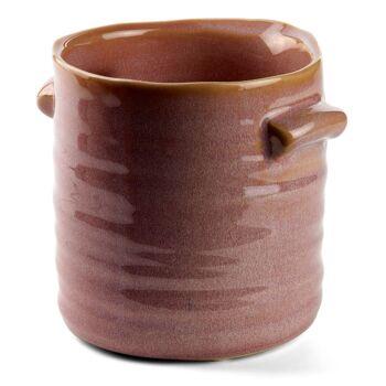 28-573483, Keramikvase 10,5 cm, 2 Griffe, Ausgießer, braun melange glasiert