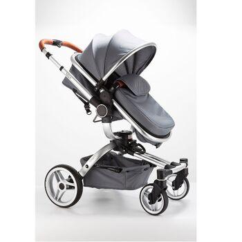 Blij'r Stef 2in1 Luxus Kombi Kinderwagen mit Babyschale 360 Grad drehbar Buggy grau Baby Kindersitz Reise Urlaub Babybett