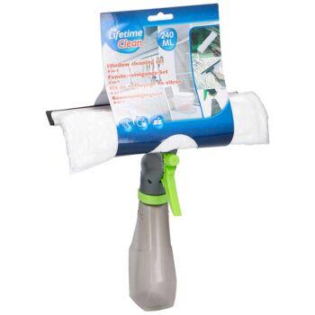 Fensterreinigungs-Set Lifetime Clean 3-in-1 Sprühflasche 240 ml Fensterwischer Wasserabzieher Scheibentrockner