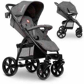 Lionelo ANNET dunkelgrau Kinderwagen Buggy aus Leinen mit Gummireifen Fliegengitter Fußsack klappbar Babybuggy Babywagen Urlaub Reise