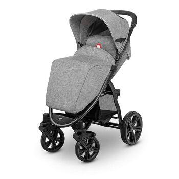 Lionelo ANNET grau Kinderwagen Buggy aus Leinen mit Gummireifen Fliegengitter Fußsack klappbar Babybuggy Urlaub Reise