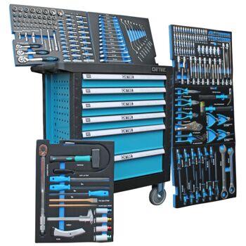 DeTec Werkstattwagen Werkzeugkiste Blue Edition 6 Schubladen / 6 gefüllt mit Werkzeug