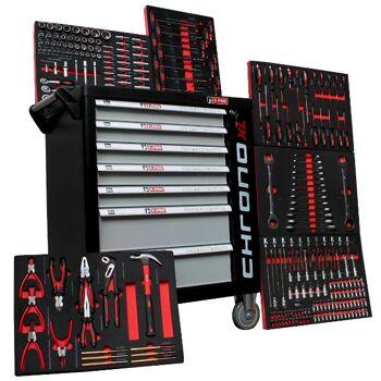 Werkstattwagen Chrono XL mit SCHWARZ 7 Schubladen / 6 gefüllt