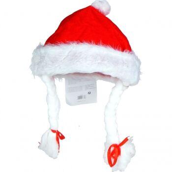 28-118253, Weihnachtsmann-Mütze mit Zöpfen und Schleifen, Nikolausmütze+++++