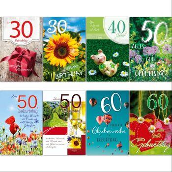 28-994473, Geburtstagskarten runder Zahlengeburtstag, 30, 40, 50, 60, Glückwunschkarten, Geschenkkarten