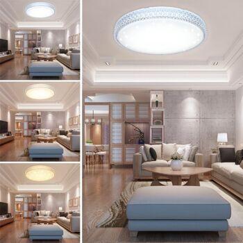 VGO® 50W LED Deckenleuchte Starlight-Design Wandlampe Deckenlampe rund Mordern Dekor IP44