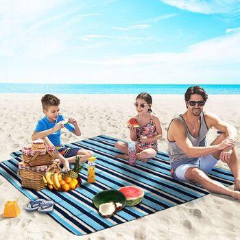 wolketon Picknickdecke Campingdecke Stranddecke Wasserfeste Faltbar 200x200cm Blau