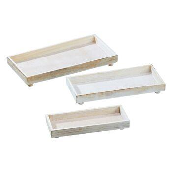 17-28116, Holz Deko Platte, rechteckig, 3er Set, creme antik, Tablett