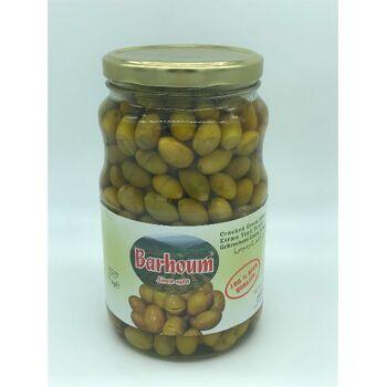 Barhoum Food gebrochene Grüne Oliven mit Kern 1KG Nettogewicht 4005156254143