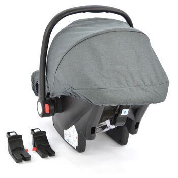 Babyschale Gruppe 0+ Bebesafe von Daliya - incl. Adapter für Kinderwagen - ab Geburt - Kindersitz Autositz - Farbe Dunkel-Grau