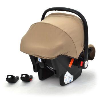 Babyschale Gruppe 0+ Bebesafe von Daliya - incl. Adapter für Kinderwagen - ab Geburt - Kindersitz Autositz - Farbe Gold-Braun