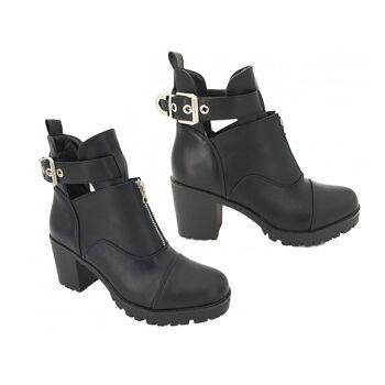 Damen Woman Trend Boots Stiefeletten Outdoor Stiefel Reißverschluss Schnalle Halbstiefel Schuhe Schuh Shoes Business Freizeit - 14,90 Euro