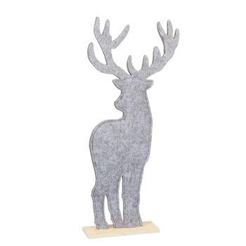 17-52219, Hirsch, Filz, auf Holzfuß 22,5 cm hoch