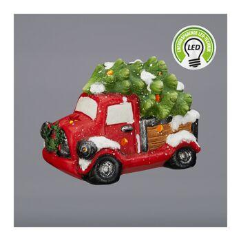 17-52737, Truck 20 cm, mit Weihnachtsbaum mit LED Licht, Weihnachtstruck, Weihnachts LKW