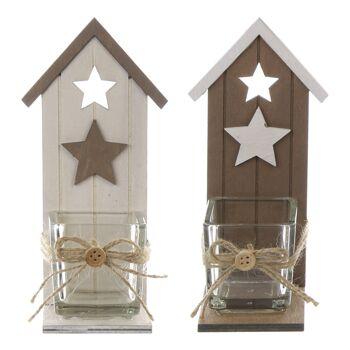 17-71766, Holz Teelichthalter Häuschen 17 cm, Weihnachten