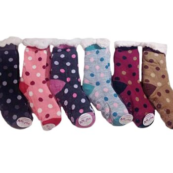 Damen Winter Socken Kuschelsocken Punkte Stoppersocken XXL Teddyfell Warme Hüttensocken Anti Rutsch - 2,90 Euro