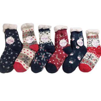 Damen Winter Socken Kuschelsocken Stoppersocken XXL Teddyfell Warme Hüttensocken Anti Rutsch - 2,90 Euro