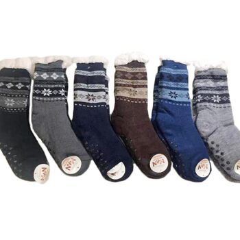 Herren Winter Socken Kuschelsocken Stoppersocken XXL Teddyfell Warme Hüttensocken Anti Rutsch - 2,90 Euro