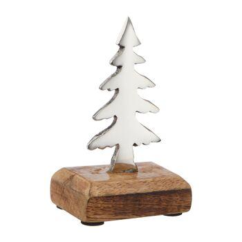 17-47055, Metall Tannenbaum 13 cmH, auf Holz Fuß, auch super als Tischdekoration