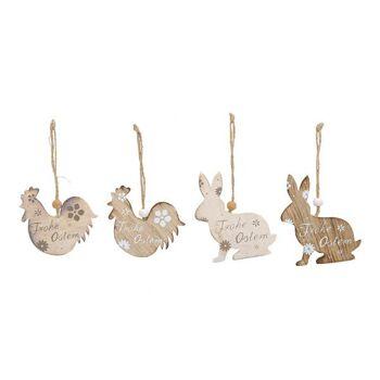 Hänger Hase/Huhn Frohe Ostern aus Holz Weiß 4-fach, (B/H) 7x8cm