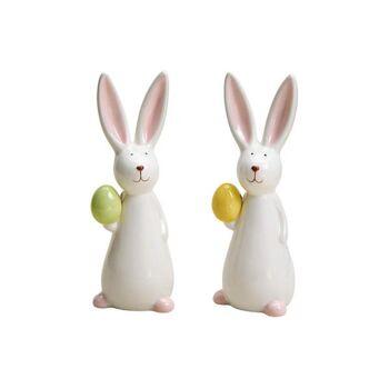 Hase mit Ei aus Keramik Weiß 2-fach, (B/H/T) 5x15x5cm