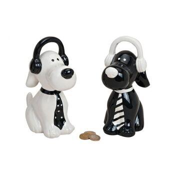 Spardose Hund Kopfhörer/Krawatte, 2-fach sortiert, B20 cm