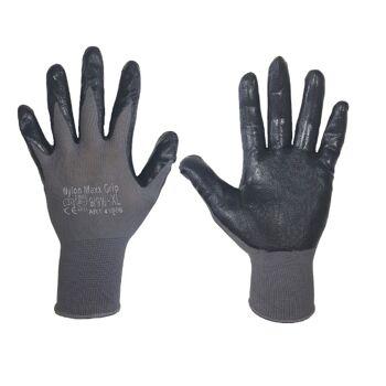Arbeitskleidung Größe M - CE-geprüfte graue 'Maxx grip'-Arbeitshandschuhe
